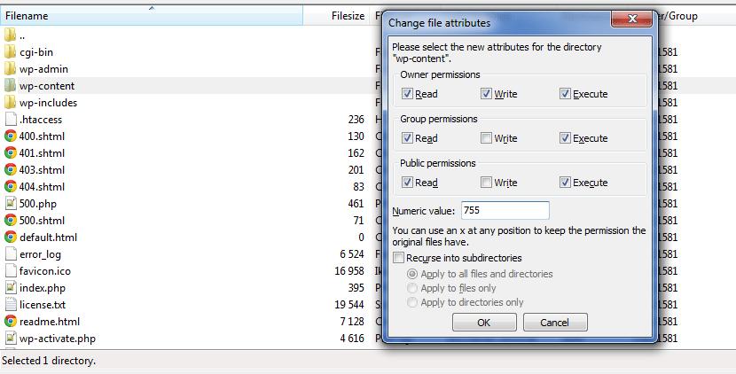 FileZilla - WordPress internal server error