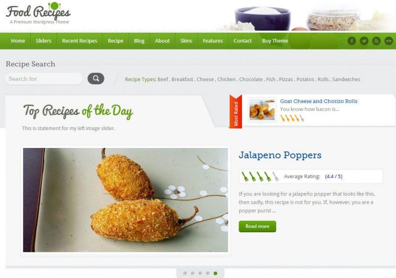 Food Recipes Recipe Theme Screenshot