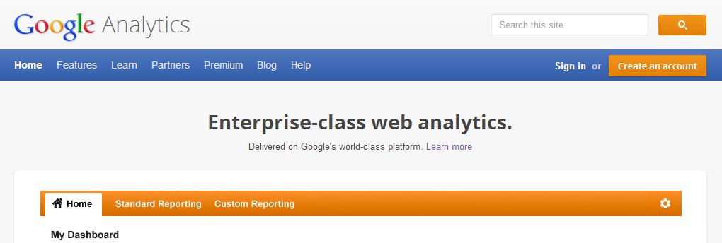 Google Analytics login screen