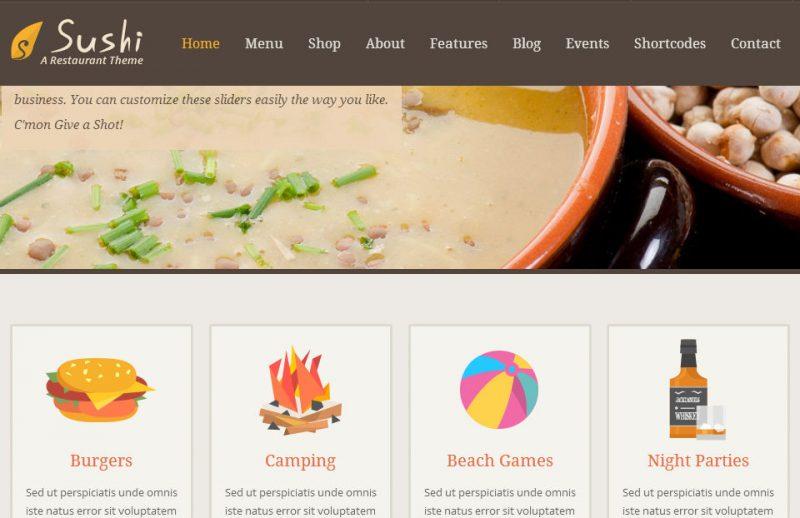 Sushi Restaurant Theme Screenshot