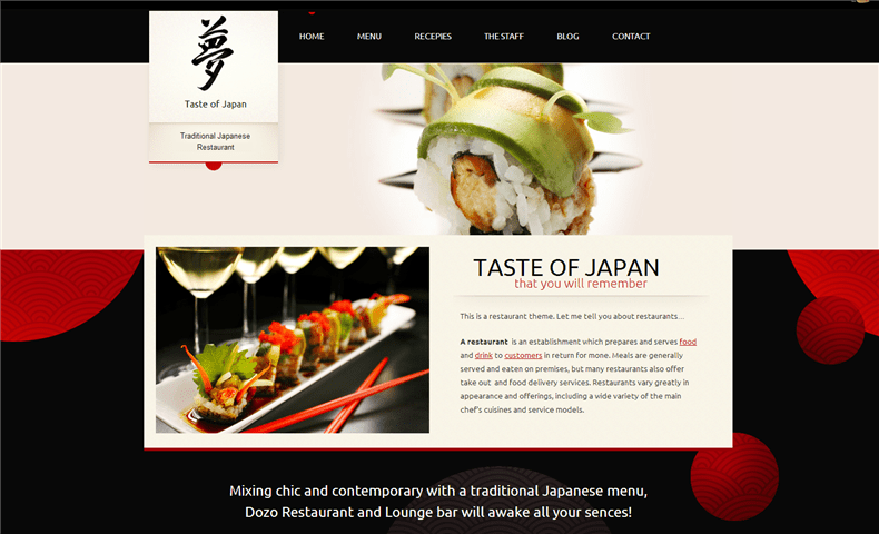 Taste of Japan - Japanese Restaurant Theme Screenshot