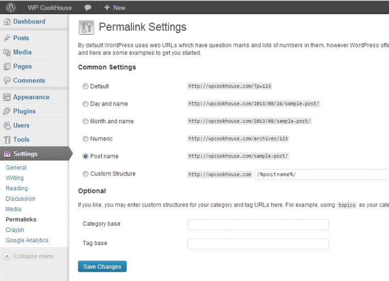 WordPress permalink settings