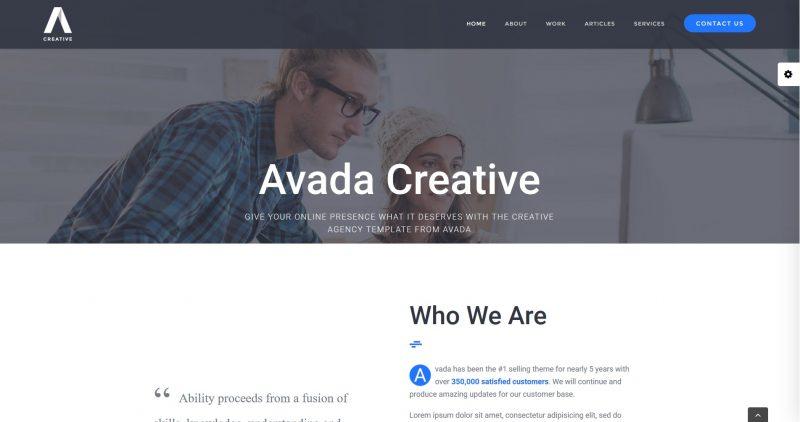 Avada creative demo