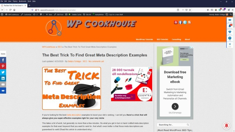 Check meta description website example