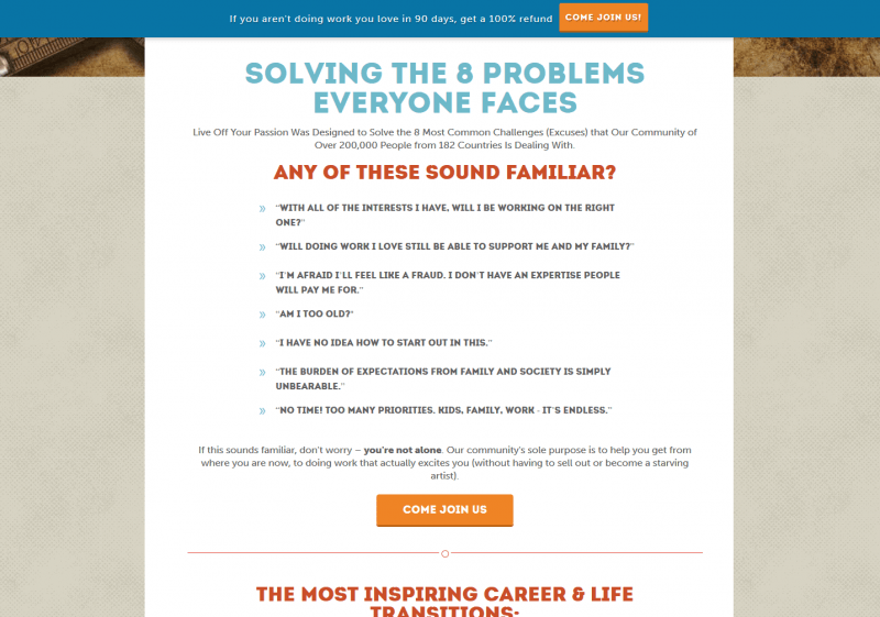 Consulting website sales page example (Live off your passion)