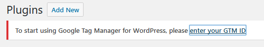 Google Tag Manager for WordPress message
