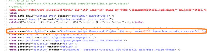 Meta description source code example