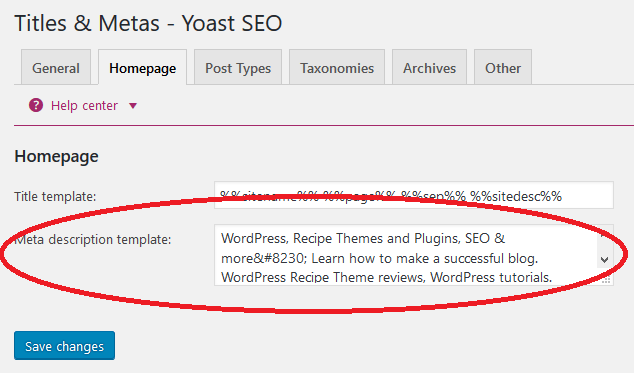 Home Page Template Meta Description Yoast Set Up