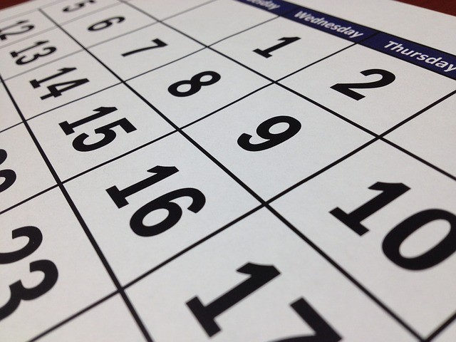 Monthly calendar closeup