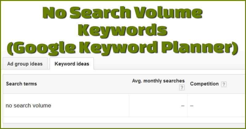 No search volume keywords