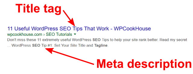 Title & Meta Description Example in SERP